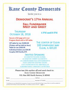 Kane County Democrats' 17th Annual Fall Fundraiser