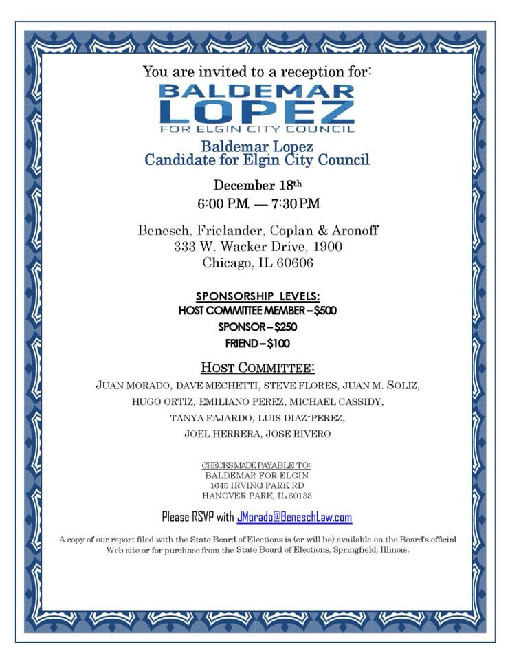 Baldemar Lopez for Elgin City Council Flyer