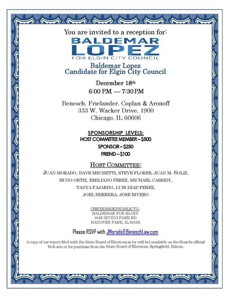 Baldemar Lopez for Elgin City Council Flyer