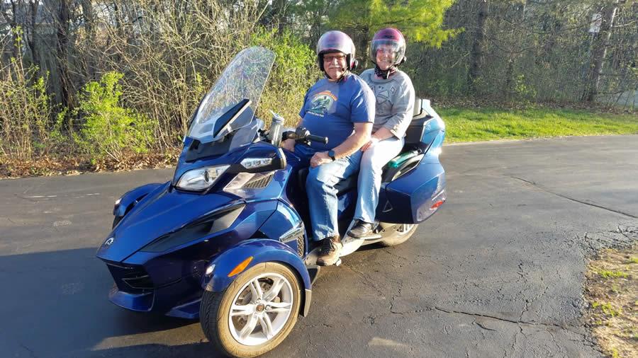 Carl and Cherryl Strathmann on Motorcycle