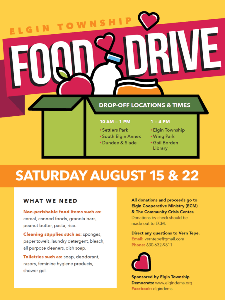 Elgin Township Food Drive Flyer