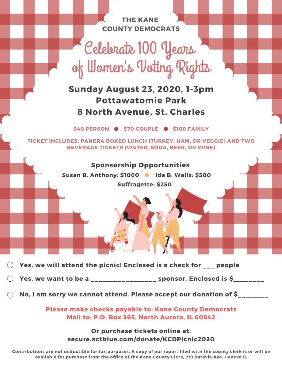 Kane County Democrats Picnic Flyer 2020